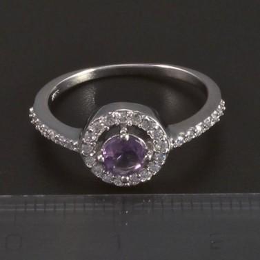 Stříbrný prsten kulatý fialový ametyst 5423 č.2