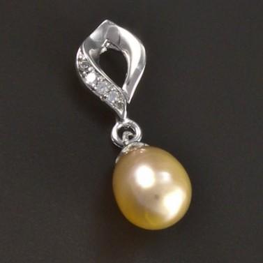 Stříbrný přívěsek s lososovou perlou 5440 č.1