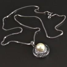 Stříbrný náhrdelník s bílou perlou 5451