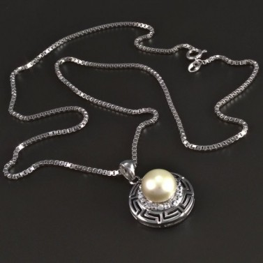Stříbrný náhrdelník s bílou perlou 5451 č.1