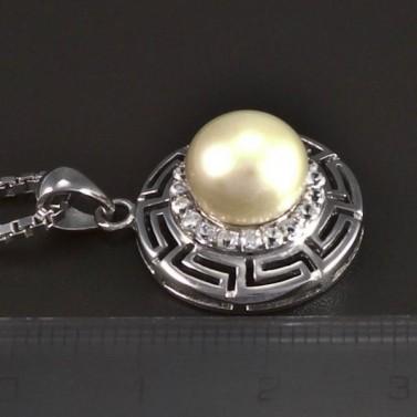 Stříbrný náhrdelník s bílou perlou 5451 č.2