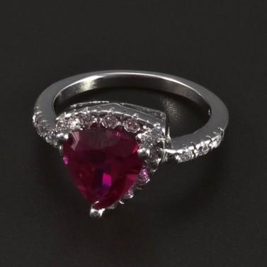 Stříbrný prsten rubín trojúhelník 5489 č.1