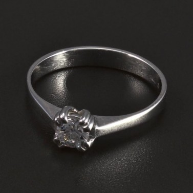 Zásnubní prsten lesklé bílé zlato 5504 č.1