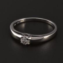 Zásnubní prsten z bílého lesklého zlata 5540
