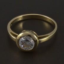 Zlatý zásnubní prsten s kulatým zirkonem 5545