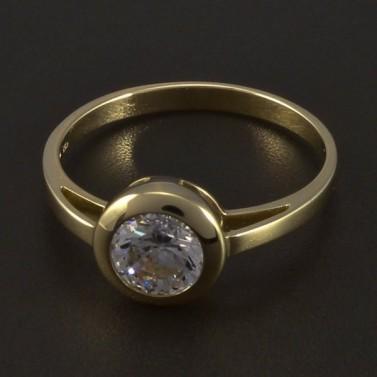 Zlatý zásnubní prsten s kulatým zirkonem 5545 č.1