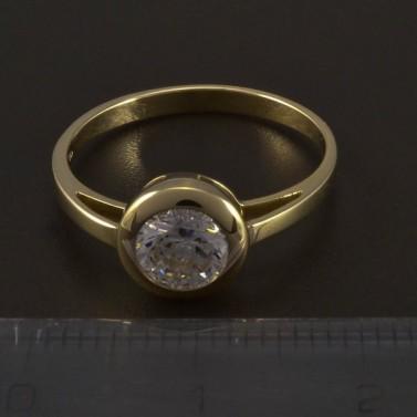Zlatý zásnubní prsten s kulatým zirkonem 5545 č.2