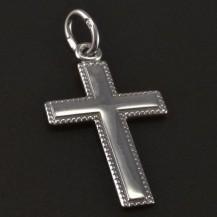 Bílé zlato křížek s jemnou rytinou 5552