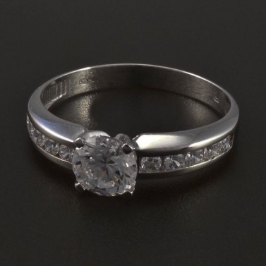Stříbrný prsten s bílými zirkony 5556 č.1