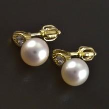 Zlaté náušnice perla a zirkon 5559
