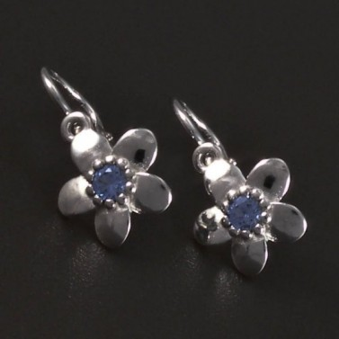 Náušnice kytičky bílé zlato modrý střed 5619 č.1