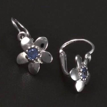 Náušnice kytičky bílé zlato modrý střed 5619 č.2