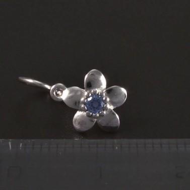 Náušnice kytičky bílé zlato modrý střed 5619 č.3