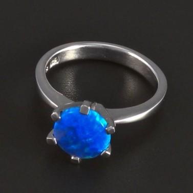 Stříbrný prsten modrý kulatý opál 5687 č.1