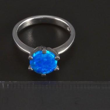 Stříbrný prsten modrý kulatý opál 5687 č.2