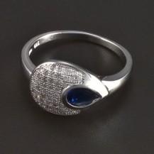 Stříbrný prsten se safírem kapka 5709