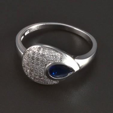 Stříbrný prsten se safírem kapka 5709 č.1