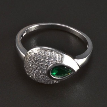 Stříbrný prsten se smaragdem kapka 5710 č.1