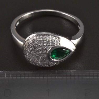 Stříbrný prsten se smaragdem kapka 5710 č.2