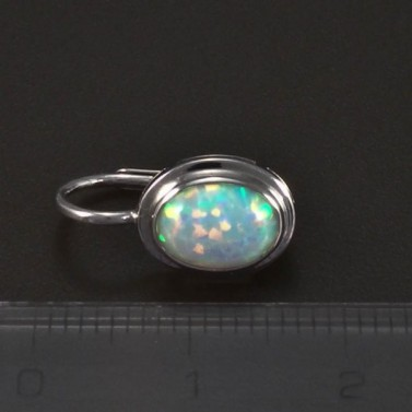 Stříbrné náušnice s bílým opálem 5713 č.3