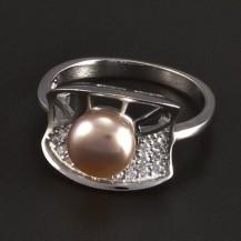 Stříbrný prsten s růžovou perlou 5717