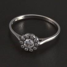 Prsten bílé zlato s bílými zirkony 5727