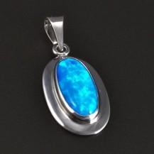 Stříbrný přívěsek oválný modrý opál 5762