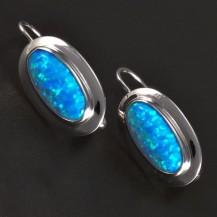 Stříbrné náušnice s modrým opálem ovál 5763