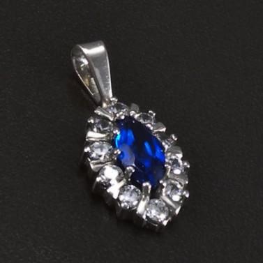 Přívěsek z bílého zlata modrý safír 5807 č.1