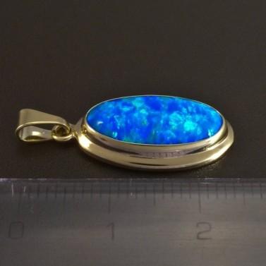 Zlatý přívěsek modrý opál 5815 č.2