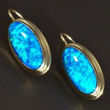 Zlaté náušnice oválný modrý opál 5818 č.1