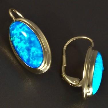 Zlaté náušnice oválný modrý opál 5818 č.2