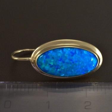 Zlaté náušnice oválný modrý opál 5818 č.3