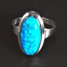 Prsten z bílého zlata modrý opál 5821