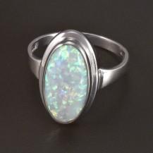 Zlatý prsten bílý oválný opál 5822