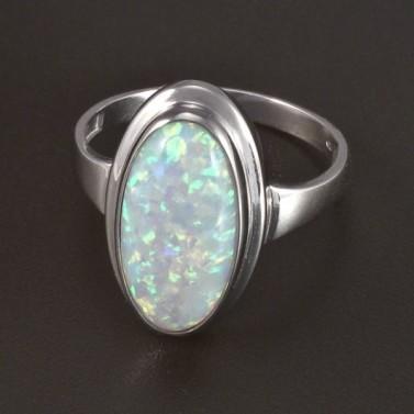 Zlatý prsten bílý oválný opál 5822 č.1