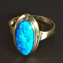 Zlatý prsten modrý oválný opál 5823