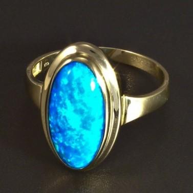 Zlatý prsten modrý oválný opál 5823 č.1