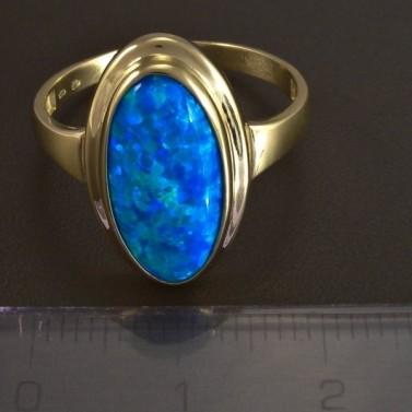 Zlatý prsten modrý oválný opál 5823 č.2