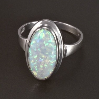 Stříbrný prsten s bílým opálem 5825 č.1