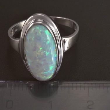 Stříbrný prsten s bílým opálem 5825 č.2