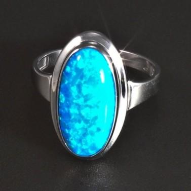 Stříbrný prsten s oválným opálem 5826 č.1
