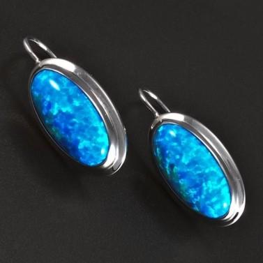 Stříbrné náušnice modré oválné opály 5827 č.1