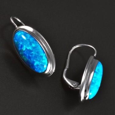 Stříbrné náušnice modré oválné opály 5827 č.2