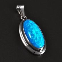 Stříbrný přívěsek s oválným modrým opálem 5829