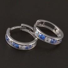 Stříbrné dětské náušnice kroužky modrobílé 5889
