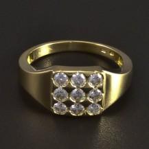 Zlatý masivní prsten se zirkony 5898