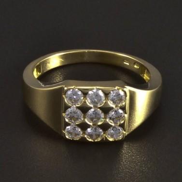 Zlatý masivní prsten se zirkony 5898 č.1