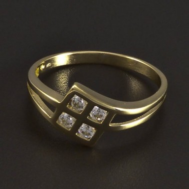 Zlatý prsten čtyři zirkony 5899 č.1