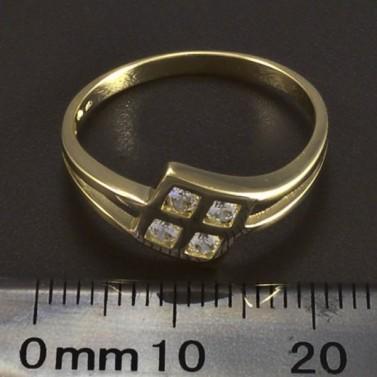Zlatý prsten čtyři zirkony 5899 č.2
